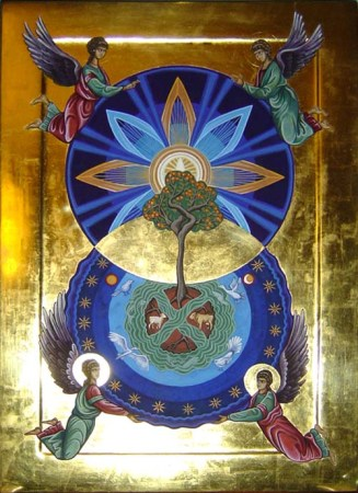 G. Barnes, 2010. 'Mandorla with Tree of Life' [egg tempera with gold on oak]. Private Commission, Lytellton.