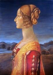 G. Barnes, 2012. Study after Ghirlandaio's 'Portrait of Giovanna degli Albizzi Tornabuoni'. [tempera and oil glaze on board]. Collection of the artist.