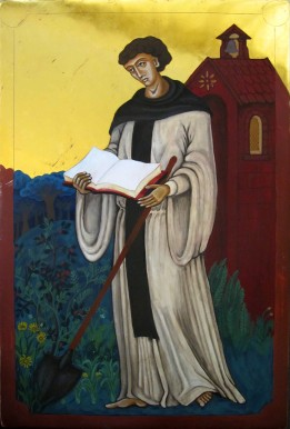 G. Barnes, 2011. 'St Fiacre Patron Saint of Gardeners' [Egg Tempera and Gold on Oak]. Collection of the artist, Christchurch.