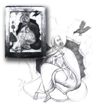 Elijah in the Desert is Fed by Birds [Study]