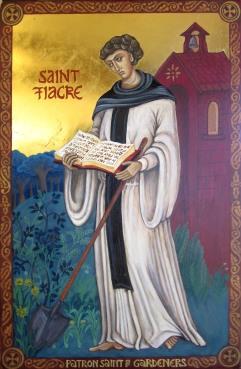 """St Fiacre Patron Saint of Gardening"" [30 x 22cm]"