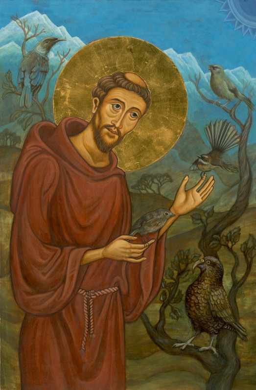 """""""St Francis with Birds of Aotearoa"""" [Egg tempera and gilding on gessoed board, 38x25cm]"""