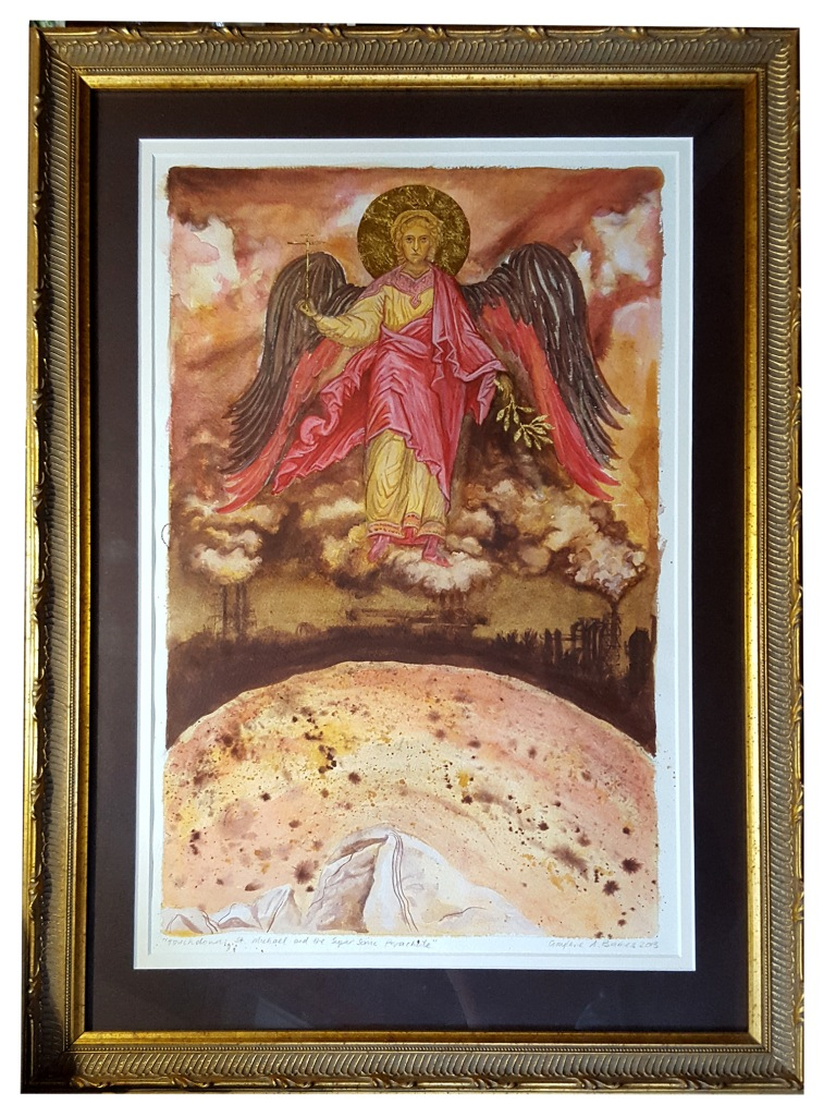 St Michael and the Super Sonic Parachute [Pigment Watercolour and Gold on Paper, 2014]