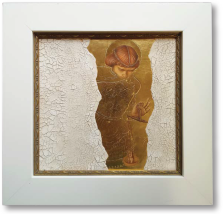 G. Barnes, 2014. Weight of Being [burnished embossed gold and cracked gesso].