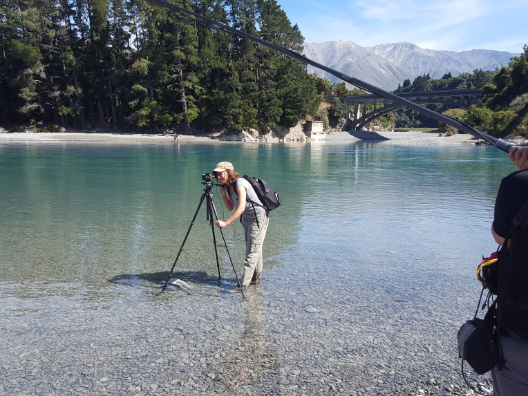 SRW Dorector and Camera, Gaylene Barnes, in the Rakaia River