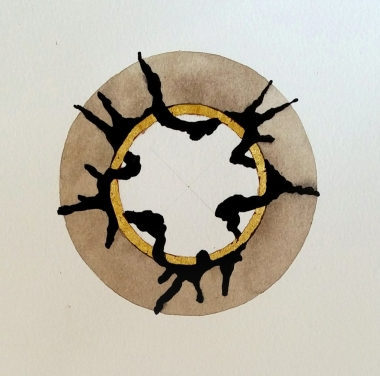 Negotiations at the Crossing. 2017 [gold, walnut ink and indian ink on paper. 20x20cm]