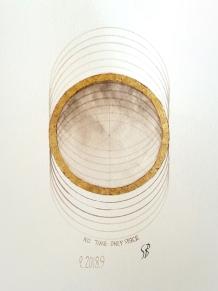 Block Universe. 2017 [gold, walnut ink on paper. 20x20cm]