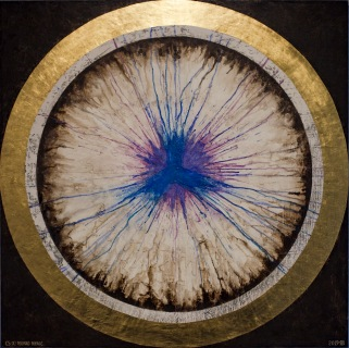 'Monad Merge' 2019 [egg tempera, gesso and 23.5kt gold on board. 120x120cm] FOR SALE Enquire at http://atelier.org.nz