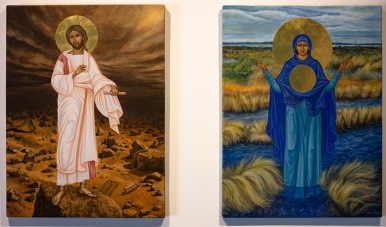 'The Transfiguration of Cosmic Christ on Mars' 2014 [egg tempera and 23.5kt gold on board. 60x45cm] SOLD. 'She Who is Spreading from the Springs' 2019 [egg tempera and 23.5kt gold on board. 60x45cm] FOR SALE Enquire at http://atelier.org.nz