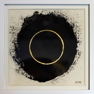 'First Boundary' 2019 [gold and bone carbon on paper. 20x20cm] SOLD