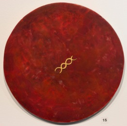 'Stranded Protein' 2017 [cinnabar and gold on board. 25cm]
