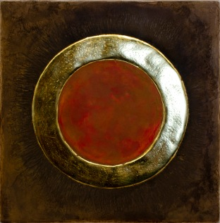 'Losing Photon' 2019 [egg tempera and gold on gesso cedar board. 20x20cm]