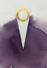 'Dart of Longing' Detail 2019 [rose petal juice and 23kt gold on paper. 40x40cm] SOLD