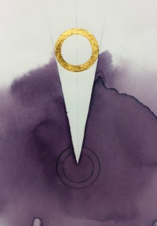 'Dart of Longing' Detail 2019 [rose petal juice and 23kt gold on paper. 40x40cm]