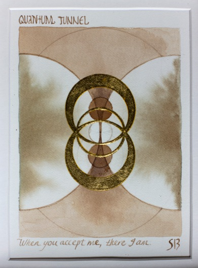 'Quantum Tunnel of Love' 2019 [gold, rose juice and bone carbon on paper. 20x16cm] SOLD