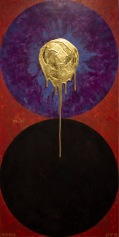 'Dyad Duality' 2019 [ Egg tempera and 23.5kt gold on board 60x120cm.] FOR SALE Enquire at http://atelier.org.nz