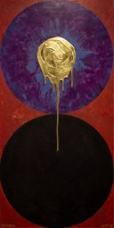 'Dyad Duality' 2019 [egg tempera and 23.5kt gold on board 60x120cm]