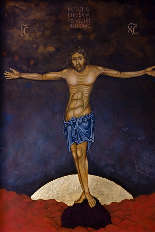 'Kenotic Christ of the Violet Meteorite' 2019 [Egg tempera and 23.5kt gold on board. 40x28cm]