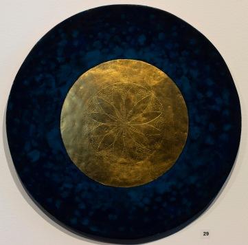 'Golden Flower' 2017 [egg tempera and gold on gesso cedar board. 35cm]