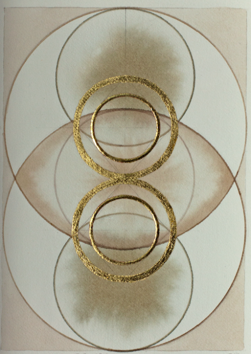 'Centro Symmetry of CO2' 2019 [rose petal juice, 23kt gold on paper and walnut ink on paper. 18x12cm]