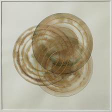 'Trinity Resonance' 2019 [rose petal juice and 23kt gold on paper. 40x40cm]