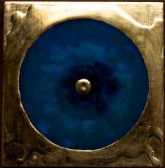 'Lonely Eternal Proton' 2019 [egg tempera and gold on gesso cedar board. 20x20cm] FOR SALE Enquire at http://atelier.org.nz