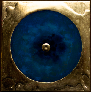 'Lonely Eternal Proton' 2019 [egg tempera and gold on gesso cedar board. 20x20cm]