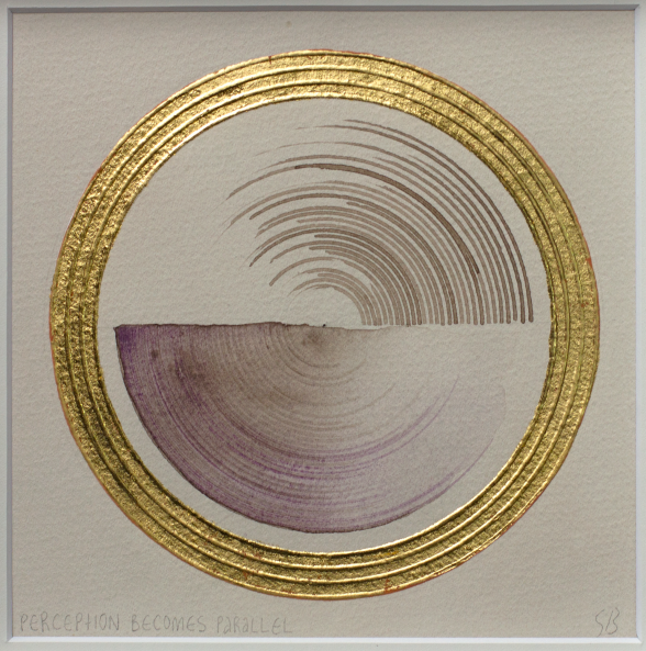 'Parallel Perception' 2019 [pigment, walnut ink and gold on paper. 22x22cm]