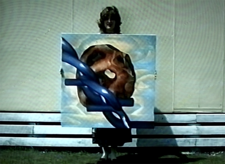 Cage Fungus and Barbs, 1990. Oil paint on canvas. [Still image from video]