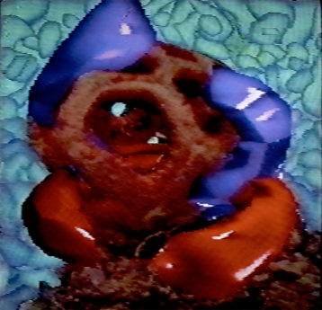 Cage Fungus Implanted with Violet and Red Tubes. 1990. Digital image, Amiga 1000. 640x480px