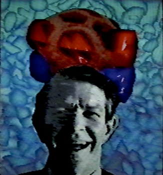 John Cage and Caged Rods, 1990. Digital image, Amiga 1000. 640x480px